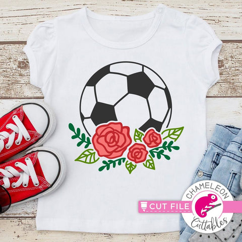 Soccer Ball with Flowers mc svg png dxf eps
