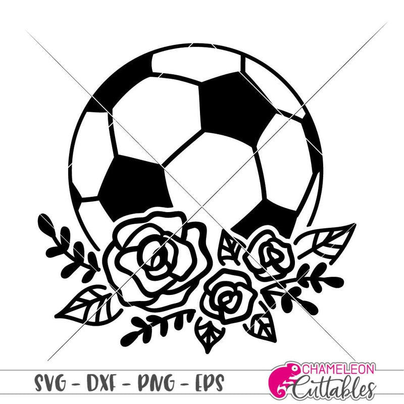 Soccer Ball with Flowers svg png dxf eps SVG DXF PNG Cutting File