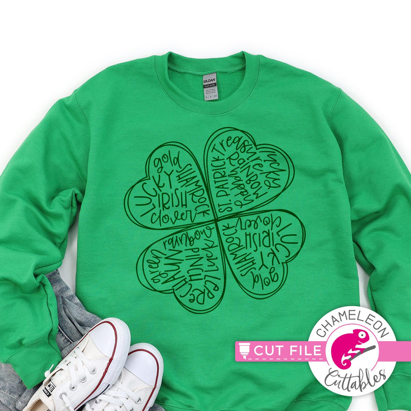 St. Patrick's Day lucky clover sketch svg png dxf eps jpeg SVG DXF PNG Cutting File