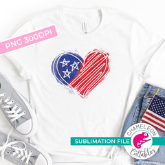 Sublimation design American Heart 4th of July PNG file Sublimation PNG