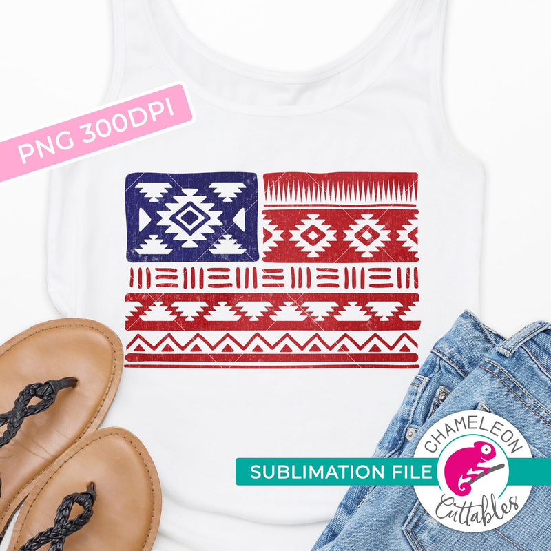 Sublimation design Aztec pattern american flag patriotic 4th of July PNG file Sublimation PNG