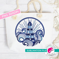 Sublimation design Be the light lighthouse waves watercolor PNG file Sublimation PNG