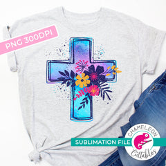 Sublimation design Cross with flowers PNG file Sublimation PNG