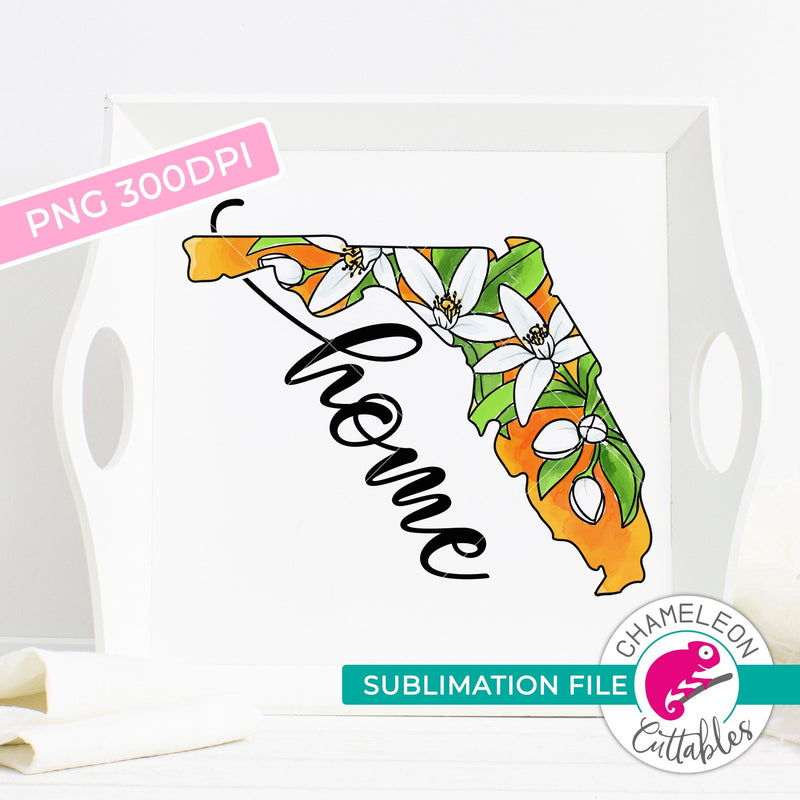 Sublimation design Florida state shape home orange blossom PNG file Sublimation PNG