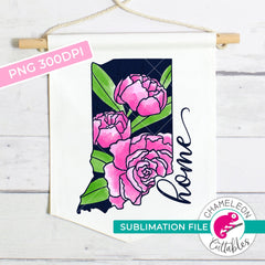 Sublimation design Home Indiana state flower peony watercolor PNG file Sublimation PNG