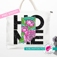 Sublimation design Home Indiana state flower peony watercolor square PNG file Sublimation PNG