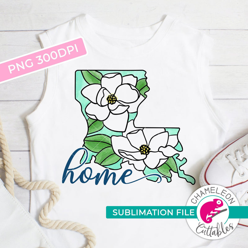 Sublimation design Home Louisiana state flower magnolia watercolor PNG file Sublimation PNG