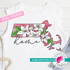 Sublimation design Home Massachusetts state flower mayflower pink watercolor PNG file Sublimation PNG