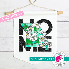 Sublimation design Home Missouri state flower hawthorn square watercolor PNG file Sublimation PNG