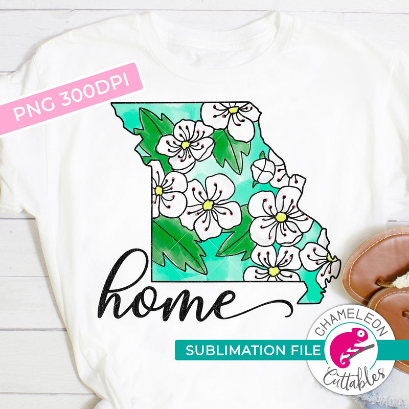 Sublimation design Home Missouri state flower hawthorn watercolor PNG file Sublimation PNG