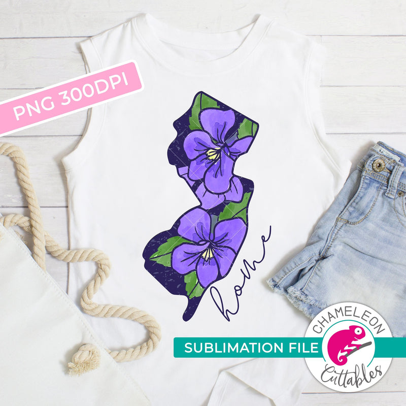 Sublimation design Home New Jersey state flower violet watercolor PNG file Sublimation PNG