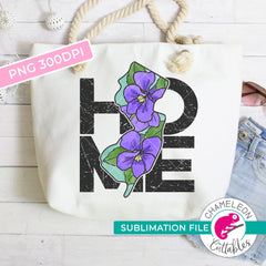 Sublimation design Home New Jersey state flower violet watercolor square PNG file Sublimation PNG