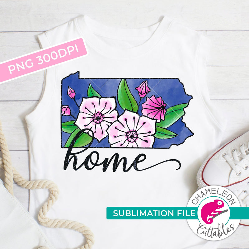 Sublimation design Home Pennsylvania state flower mountain laurel PNG file Sublimation PNG