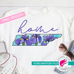Sublimation design Home Tennessee state flower iris watercolor PNG file Sublimation PNG