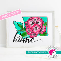 Sublimation design home Washington state flower rhododendron watercolor PNG file Sublimation PNG