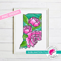 Sublimation design Indiana state flower peony watercolor PNG file Sublimation PNG