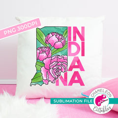 Sublimation design Indiana state flower peony watercolor rectangle PNG file Sublimation PNG
