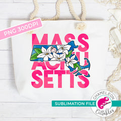 Sublimation design Massachusetts state flower mayflower pink watercolor PNG file Sublimation PNG