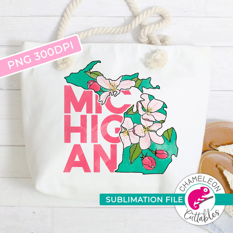 Sublimation design Michigan state flower apple blossom watercolor PNG file Sublimation PNG