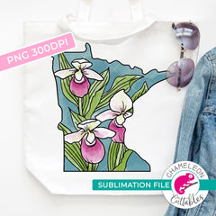 Sublimation design Minnesota state flower lady slipper watercolor PNG file Sublimation PNG