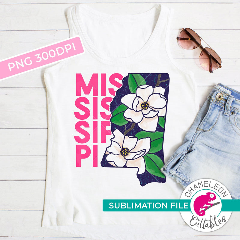 Sublimation design Mississippi state flower magnolia pink and blue watercolor PNG file Sublimation PNG