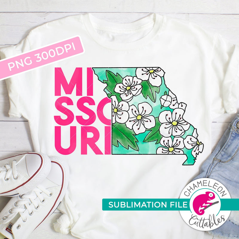 Sublimation design Missouri state flower hawthorn pink watercolor PNG file Sublimation PNG