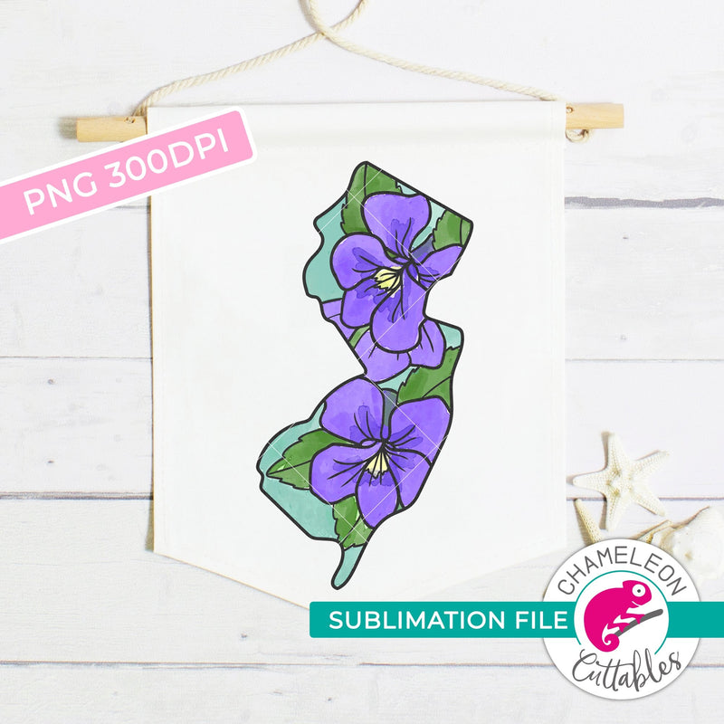 Sublimation design New Jersey state flower violet outline watercolor PNG file Sublimation PNG