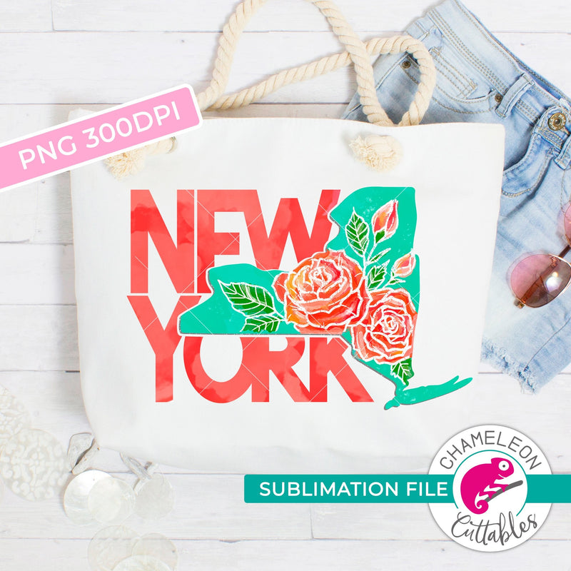 Sublimation design New York state shape rose state flower PNG file Sublimation PNG