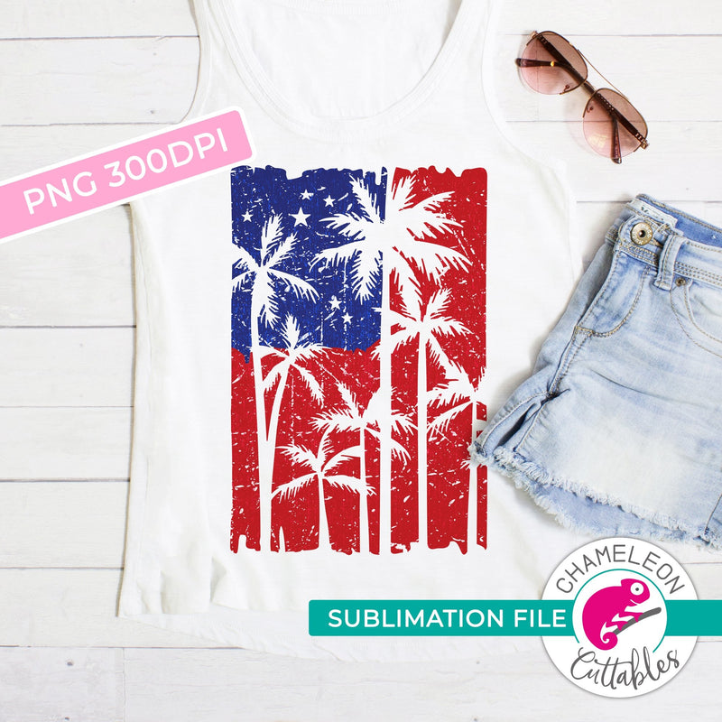 Sublimation design palm tree american flag patriotic 4th of July PNG file Sublimation PNG