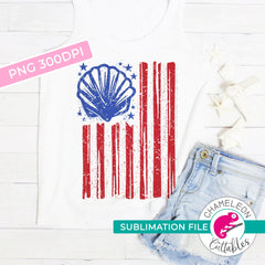 Sublimation design sea shell beach american flag patriotic 4th of July PNG file Sublimation PNG