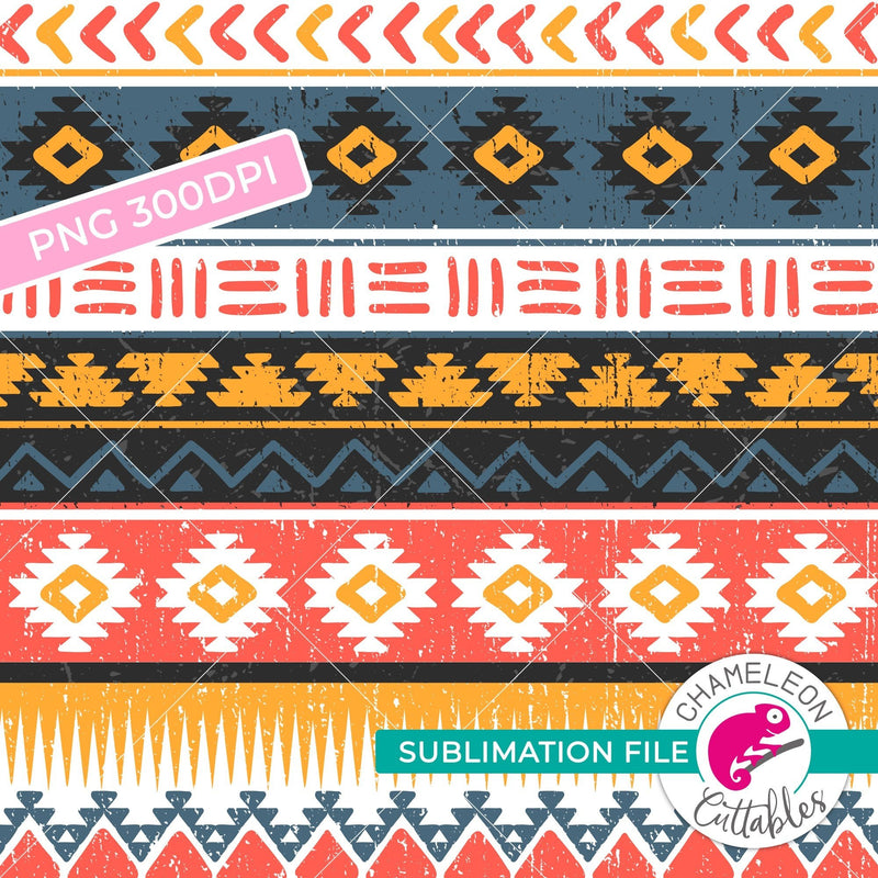 Sublimation design seamless Aztec pattern orange watercolor PNG file Sublimation PNG