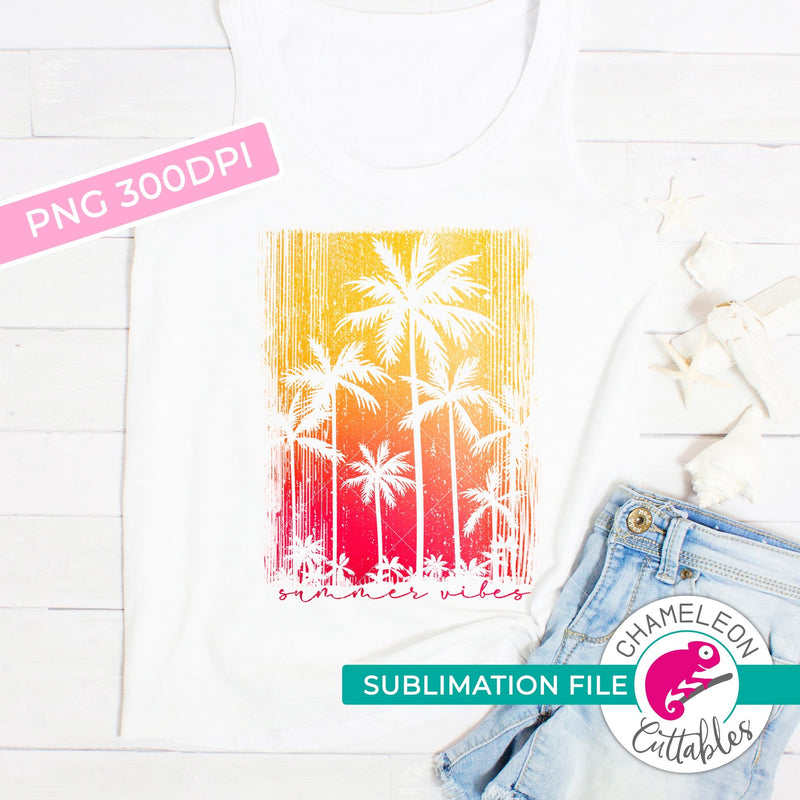 Sublimation design Summer vibes palm trees PNG file Sublimation PNG