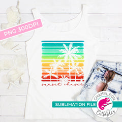 Sublimation design sunset chaser palm trees stripes square PNG file Sublimation PNG