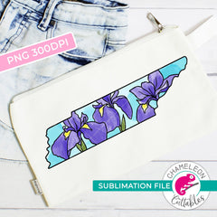 Sublimation design Tennessee state flower iris watercolor square PNG file Sublimation PNG