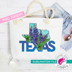 Sublimation design Texas state shape bluebonnets state flower PNG file Sublimation PNG
