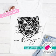 Sublimation design Tiger King Watercolor grayscale PNG file Sublimation PNG