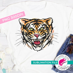 Sublimation design Tiger Watercolor King of the jungle PNG file Sublimation PNG