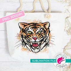 Sublimation design Tiger Watercolor with paint splatter PNG file Sublimation PNG