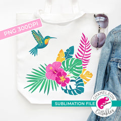 Sublimation design tropical hummingbird with hibiscus flowers PNG file Sublimation PNG