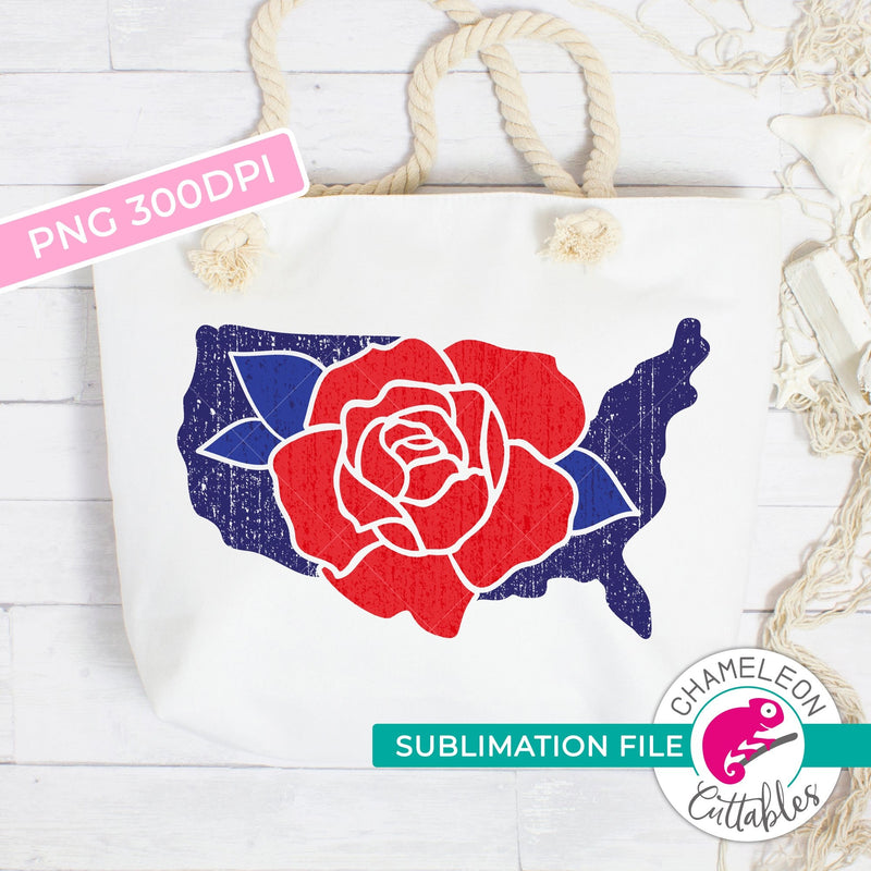 Sublimation design United States of America with Flower patriotic USA PNG file Sublimation PNG