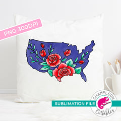 Sublimation design United States of America with Flowers black outline patriotic USA PNG file Sublimation PNG