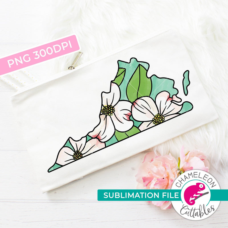 Sublimation design Virginia state flower dogwood watercolor PNG file Sublimation PNG