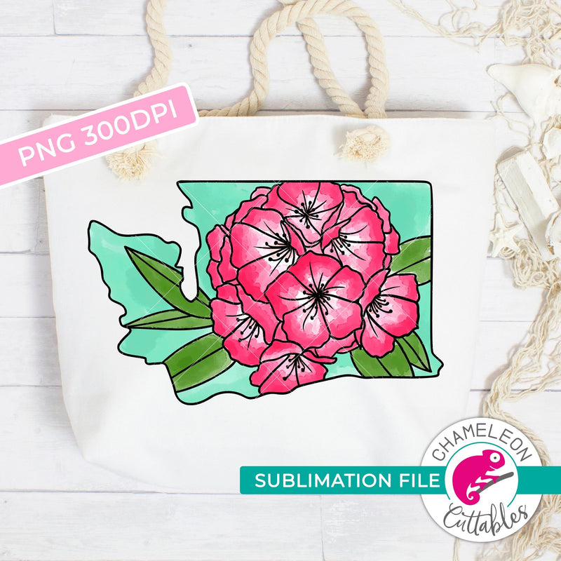 Sublimation design Washington state flower rhododendron watercolor PNG file Sublimation PNG