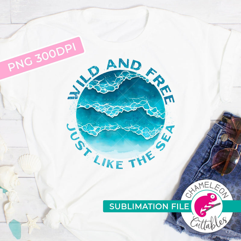 Sublimation design wild and free watercolor ocean waves circle PNG file Sublimation PNG