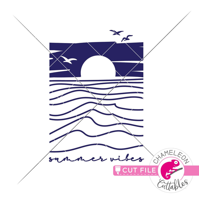 Summer vibes ocean sunset beach svg png dxf eps jpeg SVG DXF PNG Cutting File