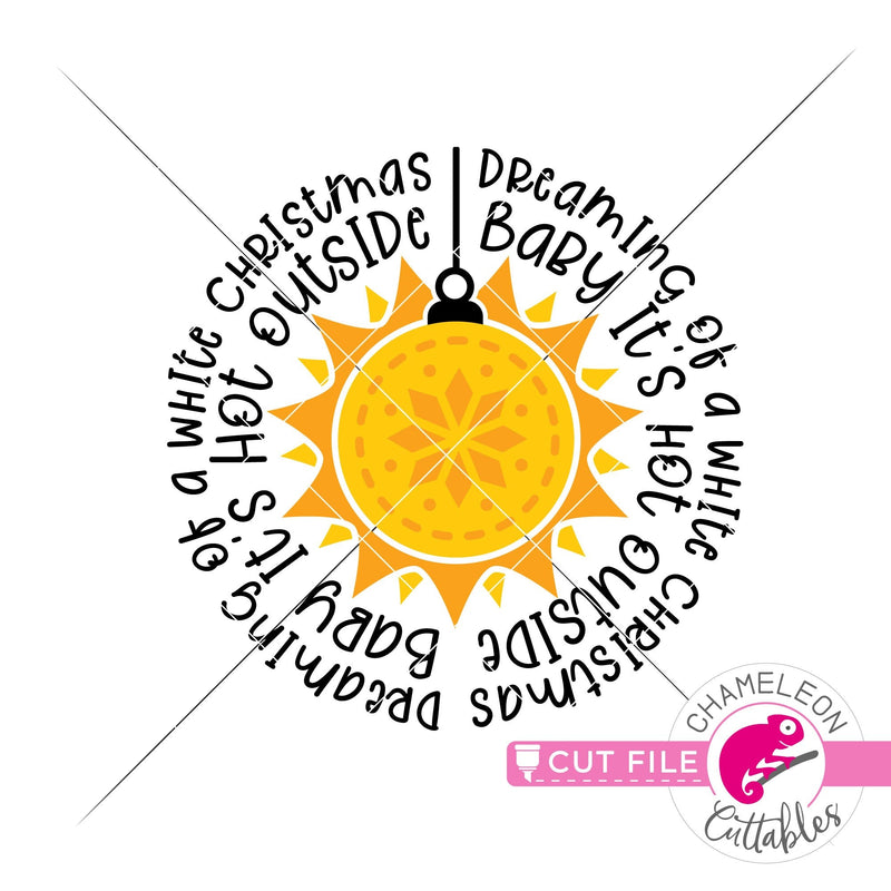 Sun ornament It's hot outside word art circle round svg png dxf eps jpeg SVG DXF PNG Cutting File