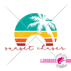 Sunset chaser palm tree stripes circle beach svg png dxf eps jpeg SVG DXF PNG Cutting File