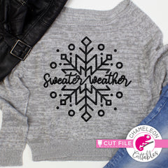 Sweater Weather Snowflake svg png dxf eps jpeg SVG DXF PNG Cutting File