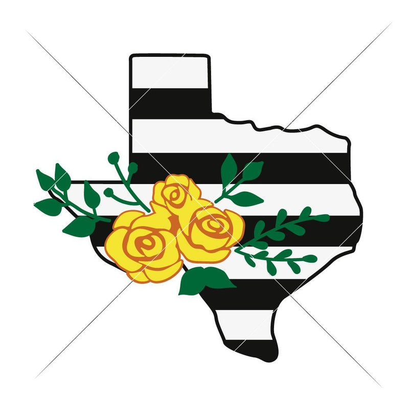 Texas With Roses And Stripes Svg Png Dxf Eps Svg Dxf Png Cutting File