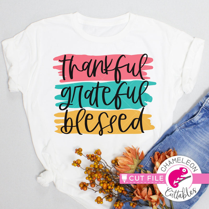 Thankful Grateful Blessed Thanksgiving layered svg png dxf eps jpeg SVG DXF PNG Cutting File